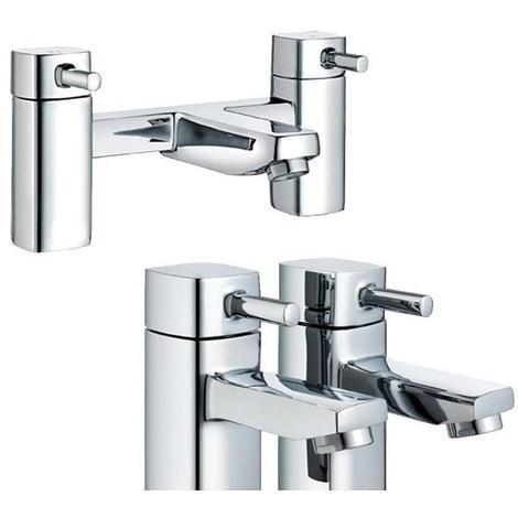 "main image of ""Square 1/4 Turn Chrome Bathroom Bath Filler Mixer & 2 x Basin Taps Set (ICE 52)"""