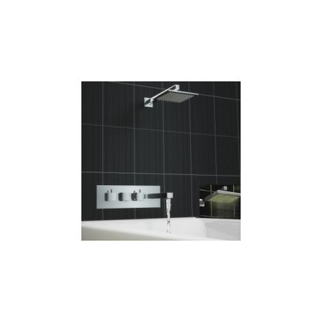 Square 2 Way Concealed Thermostatic Mixer Bath Shower Led Tap Set