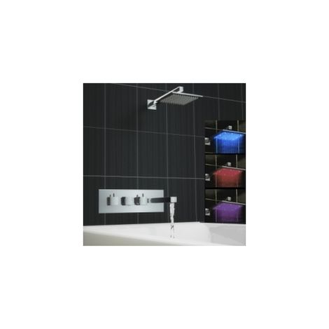 Square 2 Way Concealed Thermostatic Mixer Bath Tap Shower Set Led