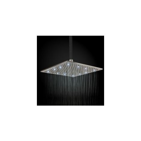Square 300mm Fixed Brass Chrome Shower Head With Led White Lights