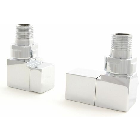Square Angled Radiator Valves Brushed Nickel