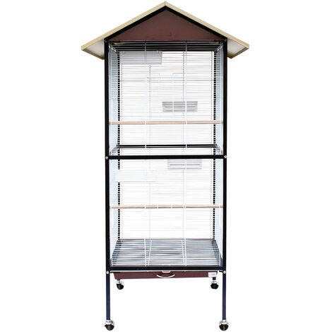 Square aviary with wheels for birds