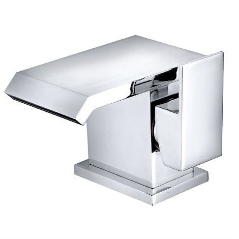 Square Basin Mixer Taps Bathroom Chrome Brass Single Sink Side Lever Facet