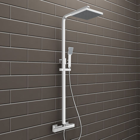 Square Bathroom Thermostatic Mixer Shower Set with Square Shower Head + Square Handset