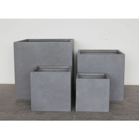 Square Box Contemporary Grey Light Concrete Planter H30 L30 W30 cm