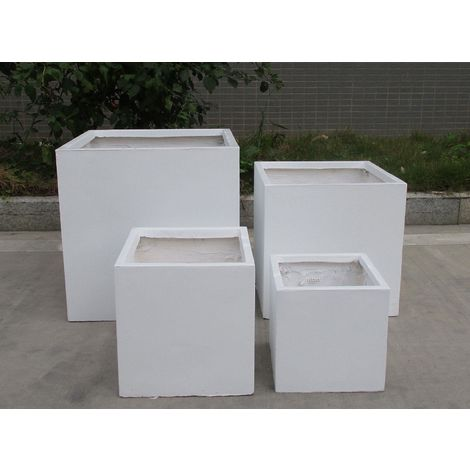 Square Box Contemporary White Light Concrete Planter H40 L40 W40 cm