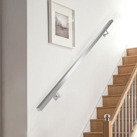 """main image of """"Square Brushed Stainless Steel Bannister Rail Balustrade Stair Handrail"""""""