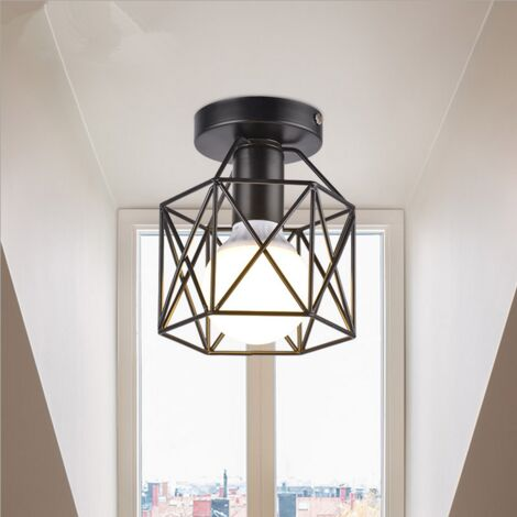 Square Cage Ceiling Light Metal Industrial Vintage Ceiling Lamp Creative Hollow Chandelier for Balcony Hall Loft,Restaurant, Café, Living Room, Kitchen, Country House (Black)