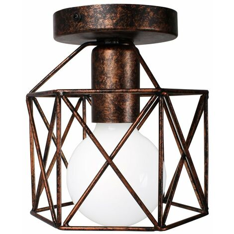 Square Cage Ceiling Light Metal Industrial Vintage Ceiling Lamp Creative Hollow Chandelier for Balcony Hall Loft,Restaurant, Café, Living Room, Kitchen, Country House (Rust)