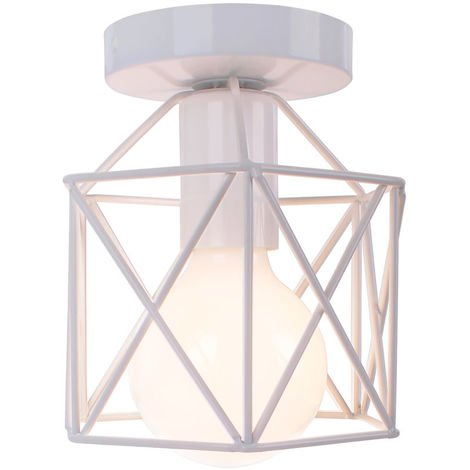 Square Cage Ceiling Light Metal Industrial Vintage Ceiling Lamp Creative Hollow Chandelier for Balcony Hall Loft,Restaurant, Café, Living Room, Kitchen, Country House (White)