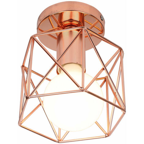 Square Cage Ceiling Light Modern Metal Industrial Ceiling Lamp Creative Hollow Chandelier for Balcony Hall Loft,Restaurant, Café, Living Room, Kitchen, Country House(Rose Gold)