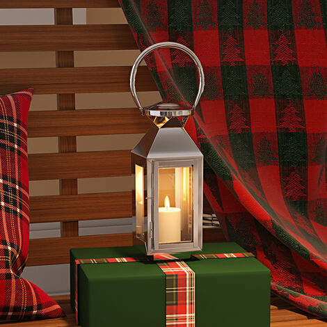 Square Candle Holder Floor Stainless Steel Lantern