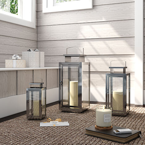 Square Candle Holder Floor Stainless Steel Lantern With Handle