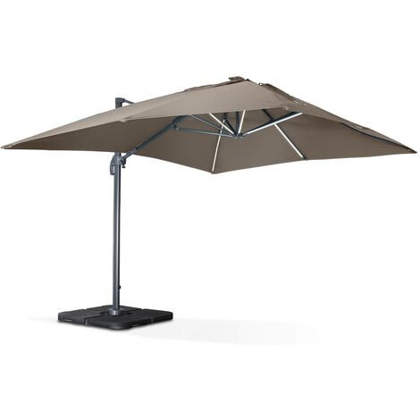 Square cantilever solar LED parasol - 3x4m - Luce