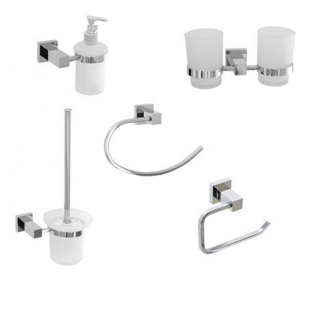 Square Chrome Bathroom Accessory Set Pack 5 Pcs