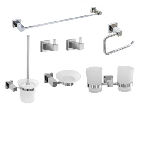 Square Chrome Bathroom Accessory Set Pack 7 Pcs