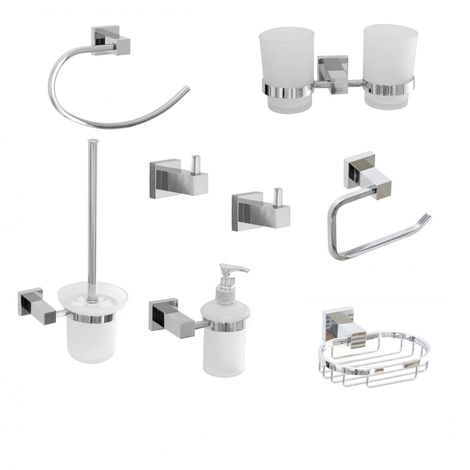 Square Chrome Bathroom Accessory Set Pack 8 Pcs