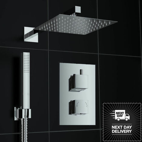 Square Chrome Concealed Thermostatic Twin Diverter Head Mixer Shower