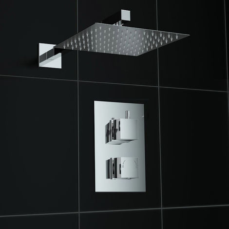 Square Chrome Finish Concealed Thermostatic Twin Mixer Shower Set