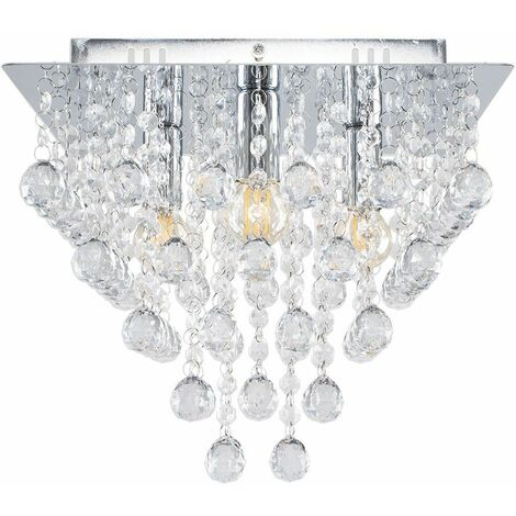 Square Chrome Plated Acrylic Jewel Droplet Flush Ceiling Light Fitting