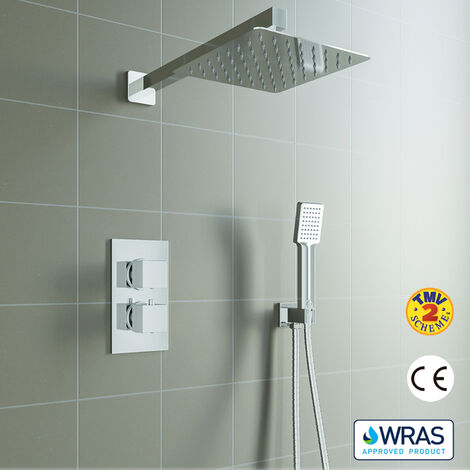 Square Chrome Thermostatic Shower Mixer Bathroom Concealed Twin Head Valve Set