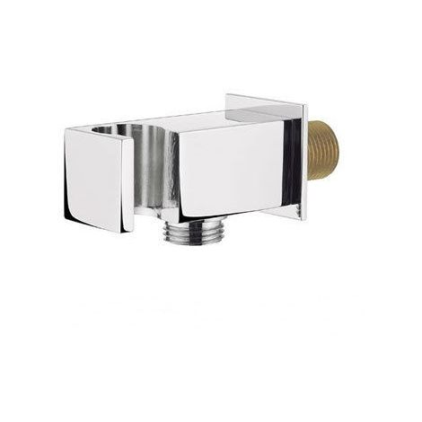 Square Chrome Wall Outlet Elbow Hose Connector with Shower Handset Holder