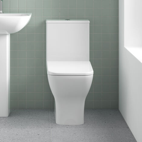 Square Close Coupled Bathroom Toilet Modern Soft Close Seat