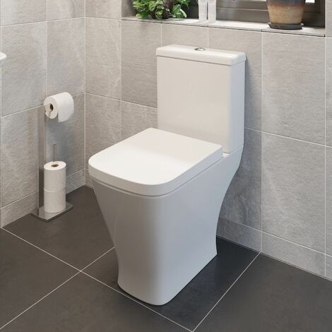 Square Close Coupled Toilet Modern Bathroom White Ceramic Soft Close Seat WC Pan