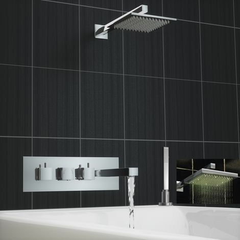 Square Concealed Thermostatic Mixer Bath Wall Tap Shower Kit Led