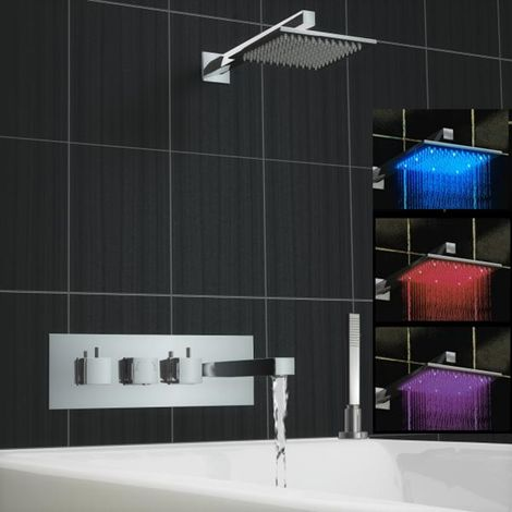 Square Concealed Thermostatic Mixer Bath Wall Tap Shower Led Kit