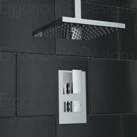 Square Concealed Thermostatic Mixer Shower Valve Sets Chrome Uk Made