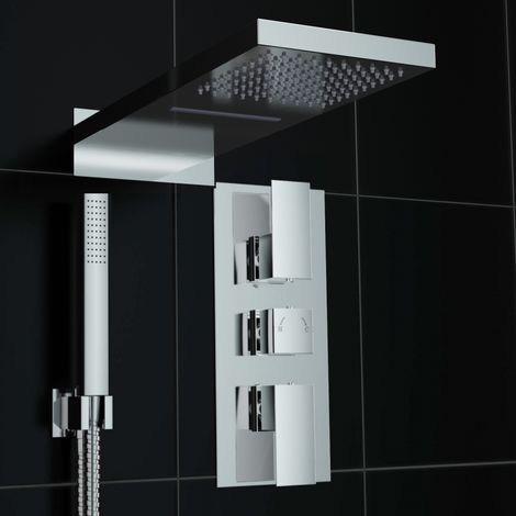 Square Concealed Thermostatic Mixer Shower Waterfall Chrome Kit