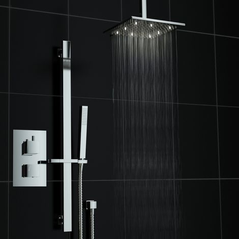 Square Concealed Thermostatic Shower Mixer Valve Rail White Led Kit