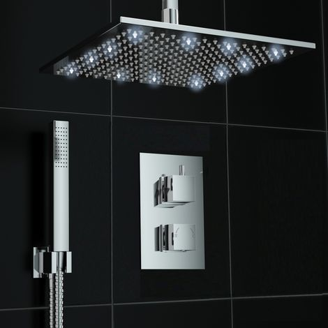 Square Concealed Thermostatic Shower Valve Ceiling 300mm White Led