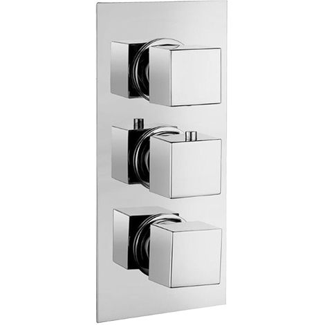 Square Concealed Triple Thermostatic Shower Valve With Diverter by Voda Design
