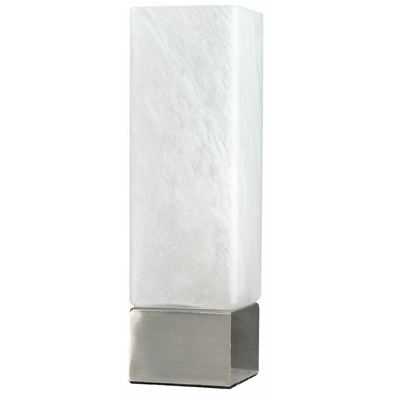 Square Dimmable Chrome & White Frosted Glass Touch Dimmer Table Bedside Lamp