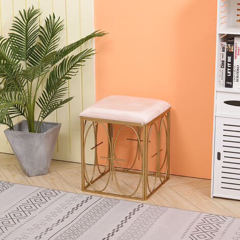Square Dressing Table Stool Chair Pouffe Golden Metal Legs Vanity Stool Bedroom Seat