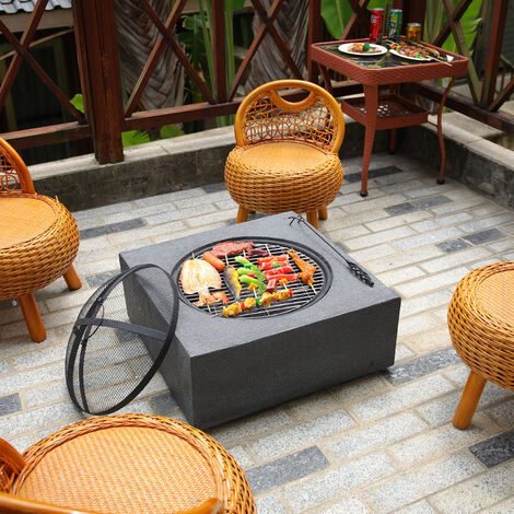 """main image of """"Square Fire Pit Outdoor Heater Garden Barbecue Wood Log Charcoal Burner BBQ Grill"""""""