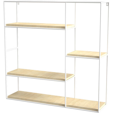 Square Floating Wall Display Shelf Storage Rack 3 Compartments