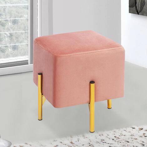 Square Footstool Ottoman Pouffe Stool Velvet Chair Gold Legs