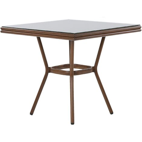 Square Garden Table Aluminium Frame 80 x 80 cm Tempered Glass Top Caspri