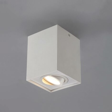Square GU10 ceiling spotlight Mikail in white
