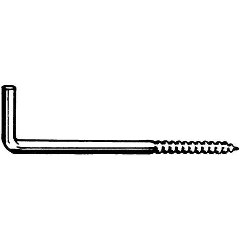 Square hook with wood screw thread Steel White epox