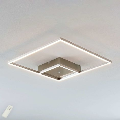 Square LED ceiling light Bobi, stainless steel