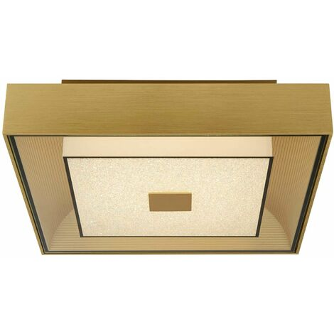 Square led ceiling light - gold with crystal sand