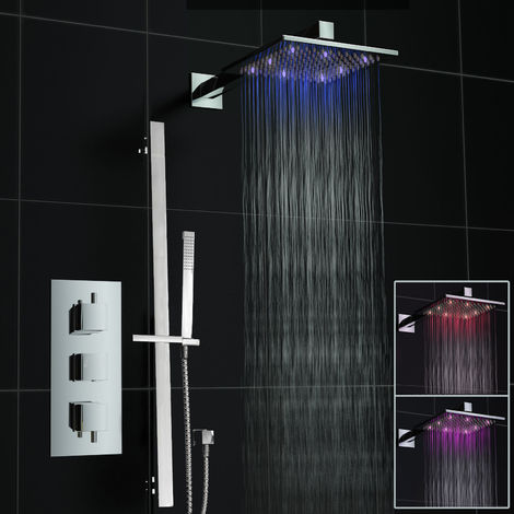 Square Led Concealed Thermostatic Mixer Shower Set Valve And Hand Held Rail Kit