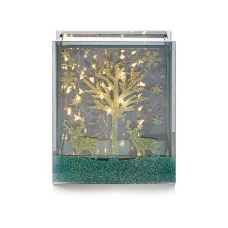 Square Lit Glass Scene with 15 Copper Wire LED's - 15 x 12cm