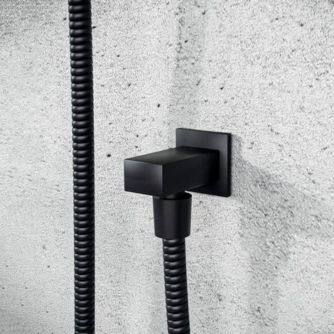 Square Matt Black Wall Mounted Concealed Connector Shower Hose Outlet Elbow