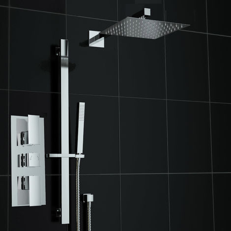 Square Mixer Shower Set Thermostatic Valve Rail Hand Held Kit