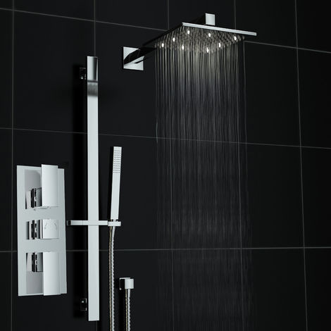 Square Mixer Shower Set Thermostatic Valve Rail Hand Held Kit Led